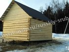 Сруб дома с двухскатной крышей