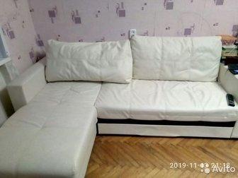 Продаётся диван, Причина продажи-меняем мебель, Есть недостаток(поцарапала кошка) ,видно на фото, в Гатчине