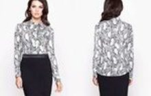 Блуза с принтованным рисунком под питона