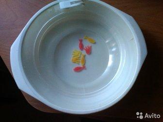 Пластмассовая, СССР,внутренняя часть заполняется водой(есть отсек), внутри плавают пластмассовые рыбки,чтобы ребенку было интереснее принимать пищу,  Диаметр 21 в Костроме