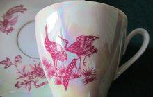 Пара антикварных фарфоровых кофейных чашек «Жар-птица» с блюдцами