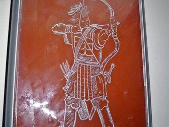 Скачать изображение  лицевая панель системника, Лучник, рисунок алюминием на стекле, 32454006 в Красноярске