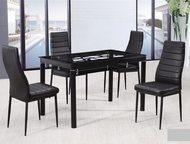 Обеденные столы и стулья 1)Обеденный стол, 12mm закаленное стекло, хромированные