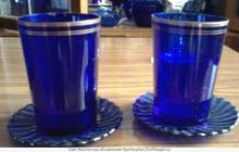 Посуда старинная синее стекло