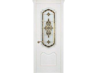 Уникальное фото  Межкомнатная дверь RuLes, коллекция Juvelli, модель Сицилия, Белая эмаль, бевелс-витраж Золотой кристалл, 32438715 в Москве