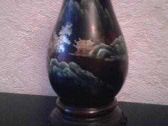 Просмотреть foto Антиквариат Вазочка из дерева, роспись по лаку, Китай 33828474 в Москве