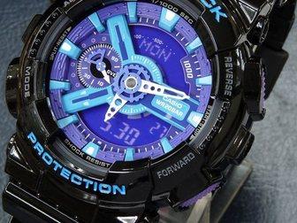 Уникальное фотографию Часы Часы G-shock 110RG, черно-голубые 34753513 в Москве