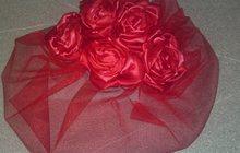 Цветы из ткани, шпильки, зажимы, вуалетки, ободочки, броши, гребни