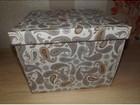 Изображение в   Коробка с крышкой. Большая. Цвет серый принт. в Новосибирске 190