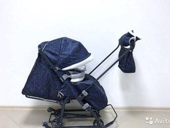 Санки коляска Ника 7 новая модель Санки коляска ника детям nika kids 7-1Б цвет северный синий,  Производитель Ника - лидер среди других марок, таких как pikate, в Новосибирске