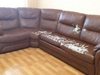 Угловой диван Бристоль 300 см на 225 см,  Требует перетяжки,  Есть спальное место, в Новосибирске
