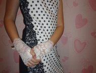 Коктейльное платье - чехол в горох на девочку 11 12 13 14 лет Светлое кремовое в