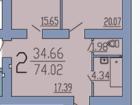 Квартира площадью 74 кв.м. с хорошей шумоизоляцией. Просторн