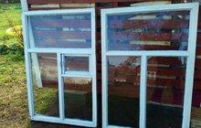 Деревянные оконные рамы со стеклами (б/у)
